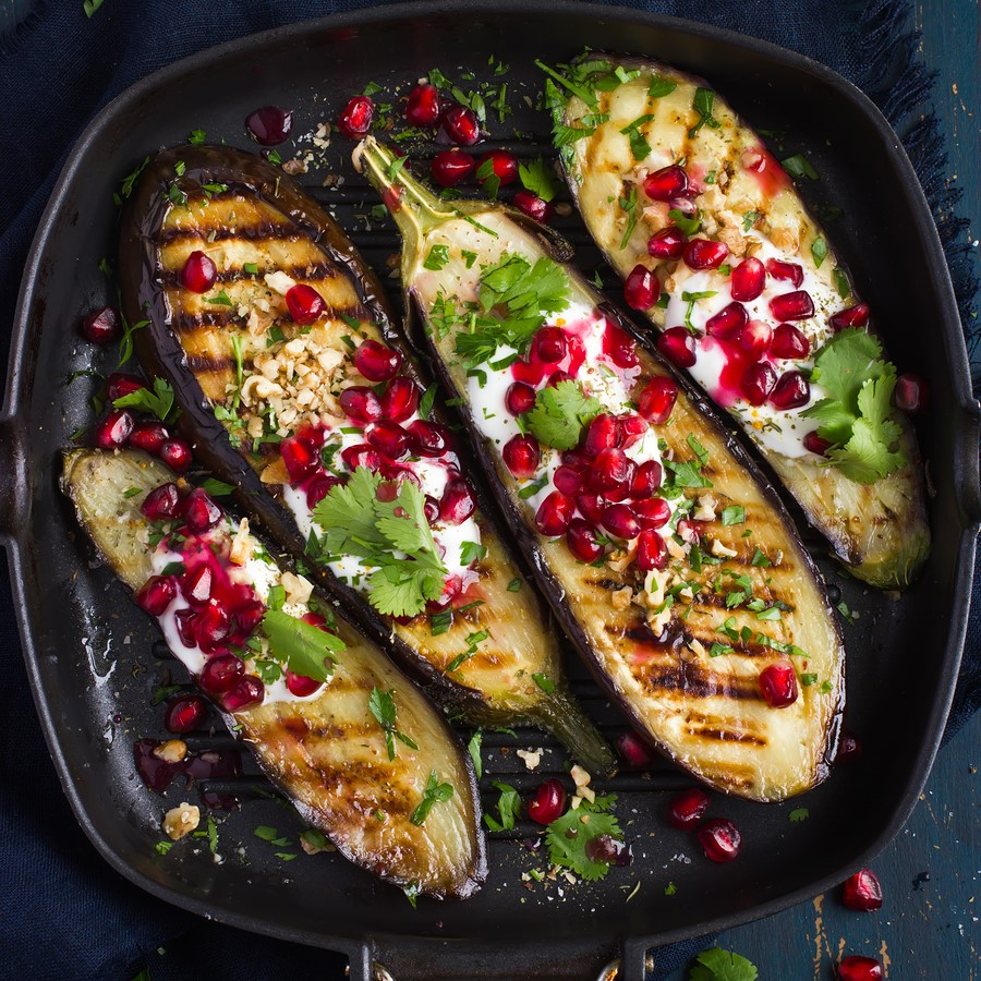 Grilled aubergines with walnuts and pomegranate